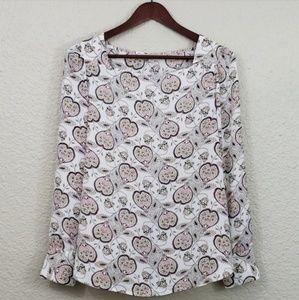 LOFT Paisely square neck blouse size medium